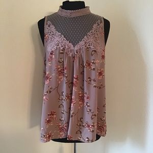 NWOT, Floral A-Line Blouse with Sheer Top